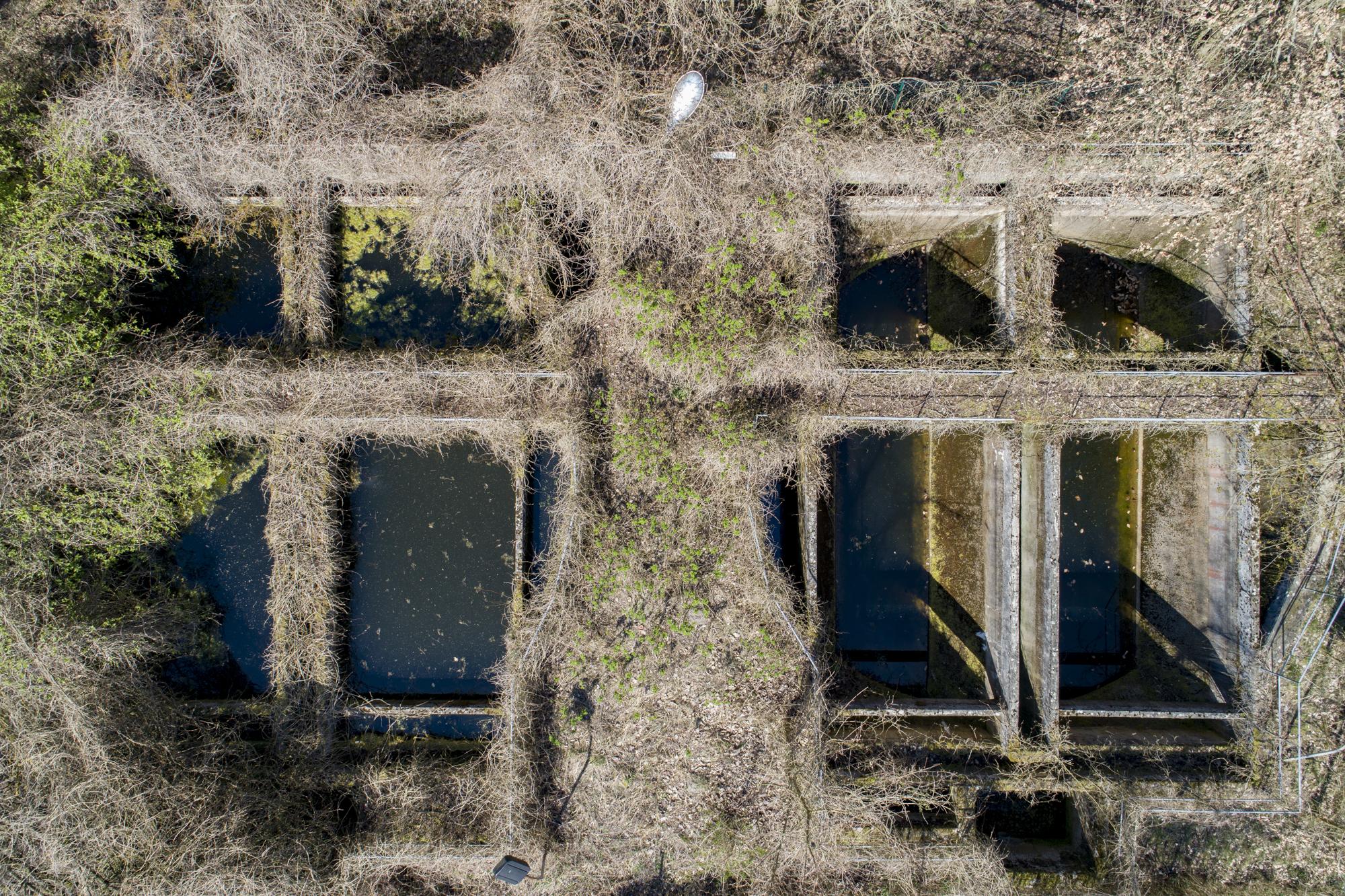 Die Absetzbecken vom Emscherbrunnen der ehemaligen Kläranlage. Foto: Christoph Löffler, Berlin