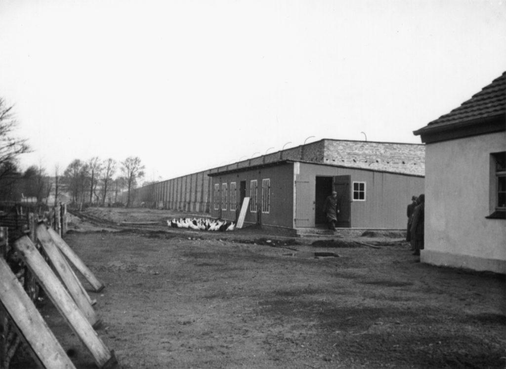 Ecke des Schweinestalls (rechts) und Hühnerstall an der Lagermauer, ca. 1940/41. Fotograf/in unbekannt (MGR/SBG, Foto-Nr. 1647)