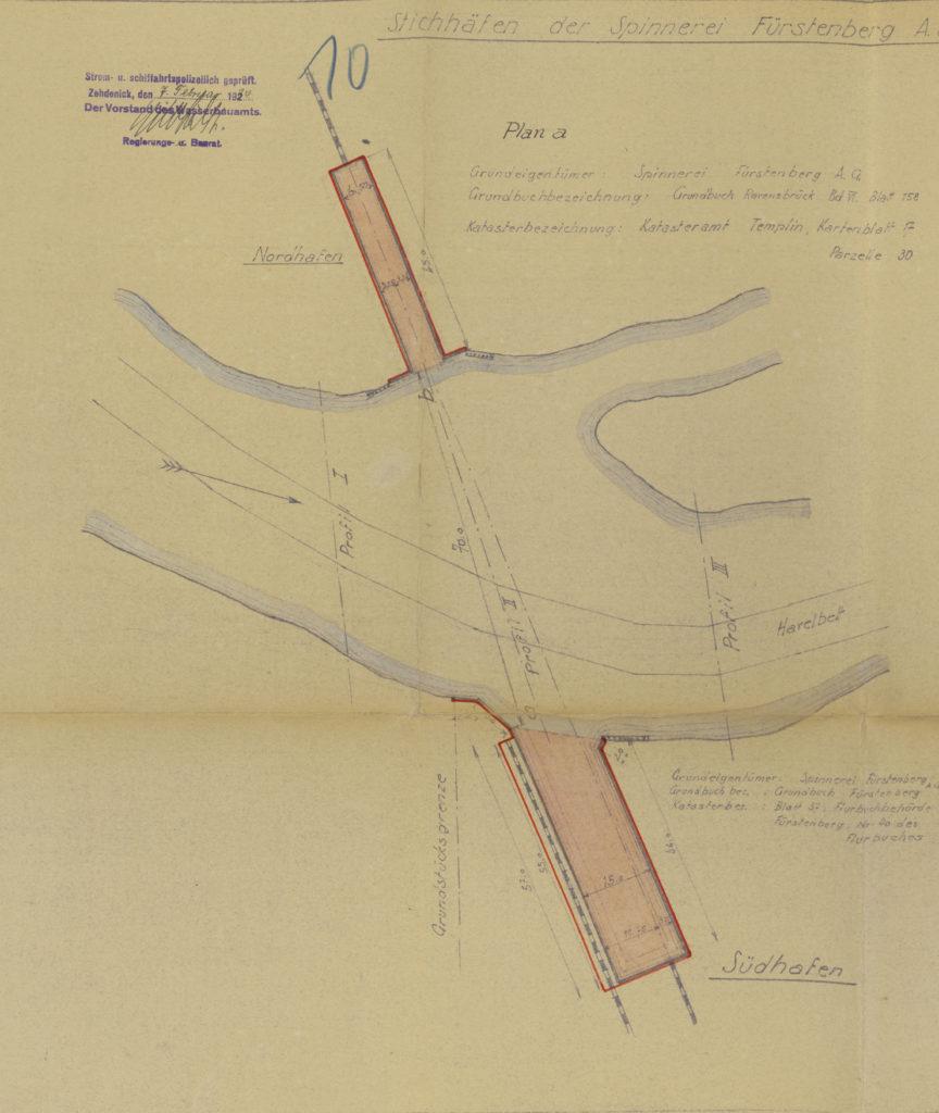 Planzeichnung der Stichhäfen für die Eisenbahnfähre der Faserstoff-Werke, Juli 1933 (BLHA, Rep. 57 WSD 4681, Bl. 10)