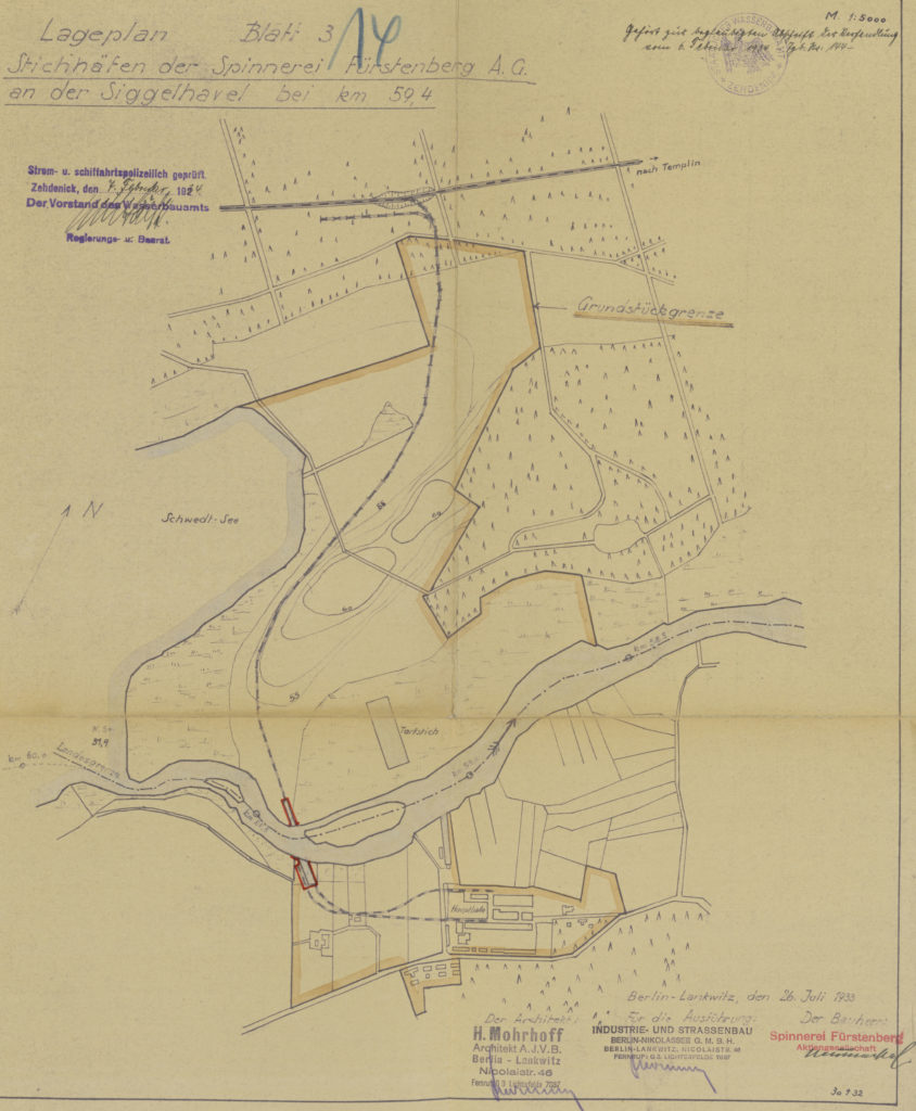 Planzeichnung mit dem Bahngleis zu den Faserstoff-Werken und den Stichhäfen der Eisenbahnfähre, Juli 1933 (BLHA, Rep. 57 WSD 4681, Bl. 14)