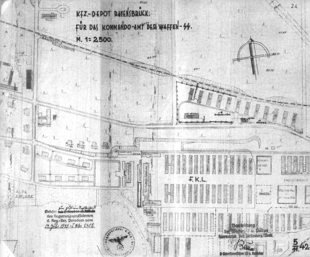 Planzeichnung der SS-Bauleitung Ravensbrück für das Nachschubsammellager, November 1942. (BLHA, 2 A I Hb 1620-1, Bl. 24)