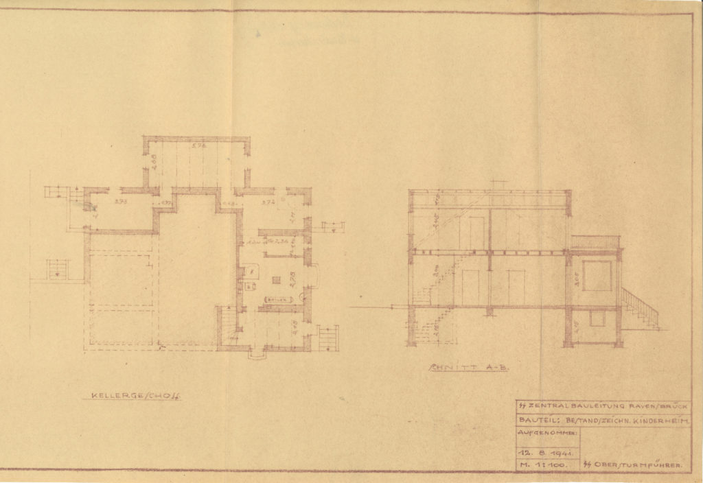 Ausschnitt einer Bauzeichnung für Umbauarbeiten am SS-Kinderheim der SS-Bauleitung Ravensbrück, August 1941. (MGR/SBG, KL/7-17, Bl. 4)